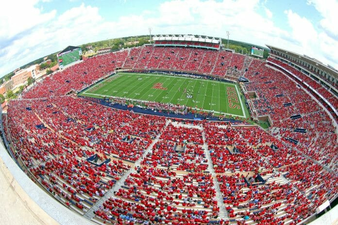 #19 Ole Miss Football vs Wofford in the home opener of the 2016 season in the new Vaught-Hemingway Stadium in Oxford, MS. Photo by Joshua McCoy/Ole Miss Athletics Twitter: @OleMissPix