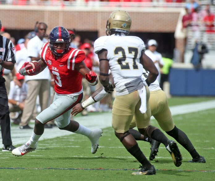 #19 Ole Miss Football verse Wofford on Sept 10,  2016 in Oxford, MS. Photo by Petre Thomas Damore'ea Stringfellow, (3),WR, Junior, Perris, Calif.