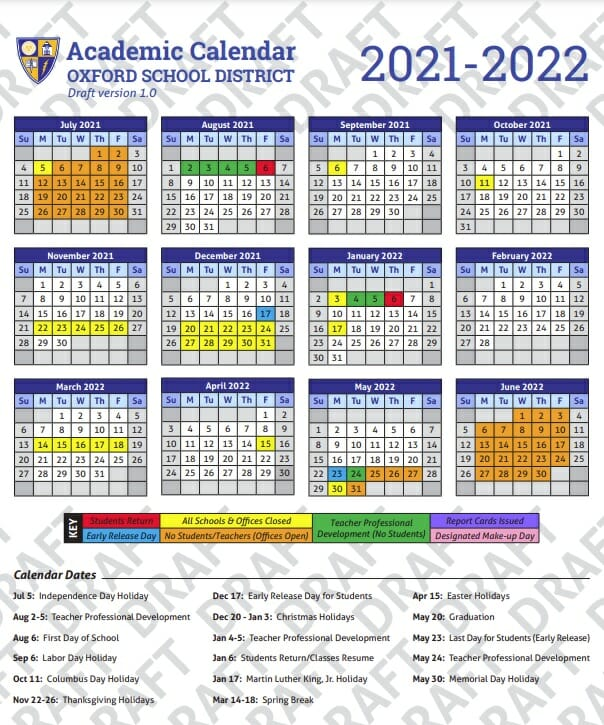 OSD Goes With More Traditional School Calendar for 2021-22